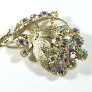 Coro Signed Aurora Borealis Flower Floral Brooch